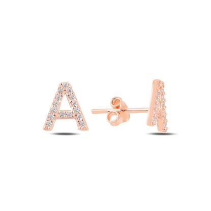 Resim Rose Kaplama -A- Harfi Gümüş Küpe