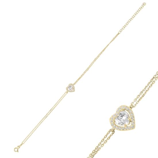 Ürün resmi: Altın Kaplama Kalp Hayalet Gümüş Bayan Bileklik