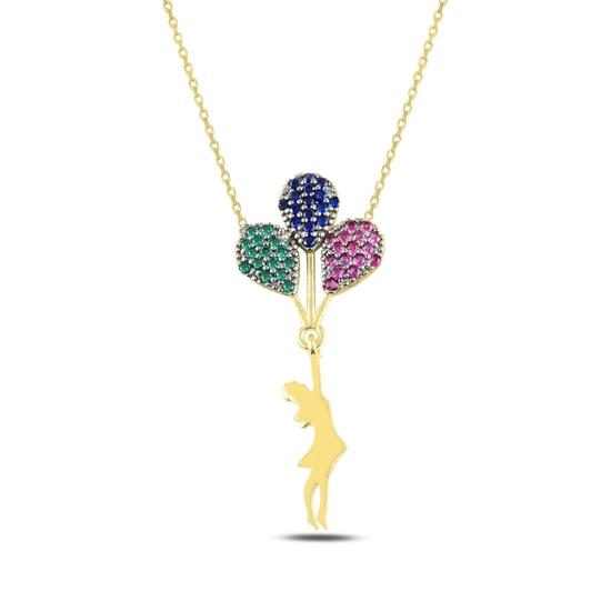 Ürün resmi: Altın Kaplama Balon Tutan Kız Zirkon Taşlı Gümüş Bayan Kolye