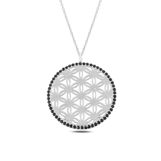 Ürün resmi: Rodyum Kaplama Yaşam Çiçeği Siyah Zirkon Taşlı Gümüş Bayan Kolye