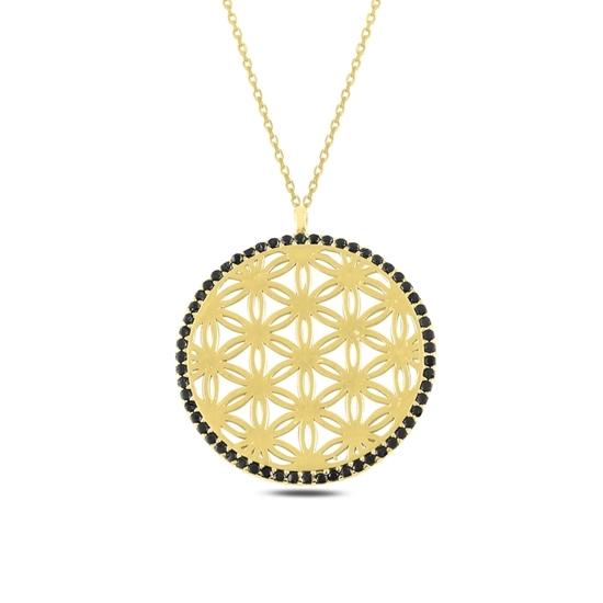 Ürün resmi: Altın Kaplama Yaşam Çiçeği Siyah Zirkon Taşlı Gümüş Bayan Kolye