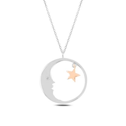Resim Rodyum Kaplama Ay & Yıldız Zirkon Taşlı Gümüş Bayan Kolye
