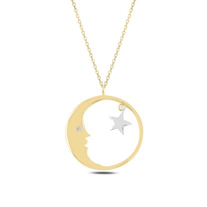 Resim Altın Kaplama Ay & Yıldız Zirkon Taşlı Gümüş Bayan Kolye