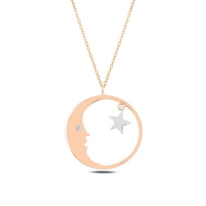 Resim Rose Kaplama Ay & Yıldız Zirkon Taşlı Gümüş Bayan Kolye