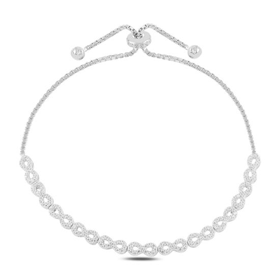 Ürün resmi: Rodyum Kaplama Sonsuzluk Zirkon Taşlı Gümüş Bayan Asansörlü Bileklik