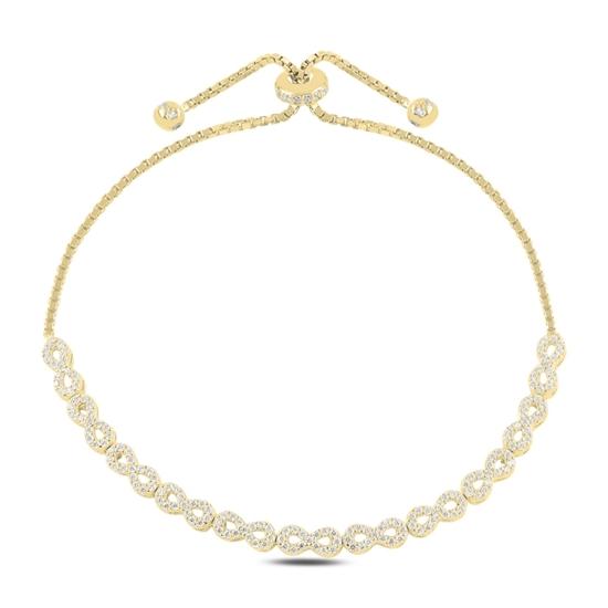 Ürün resmi: Altın Kaplama Sonsuzluk Zirkon Taşlı Gümüş Bayan Asansörlü Bileklik