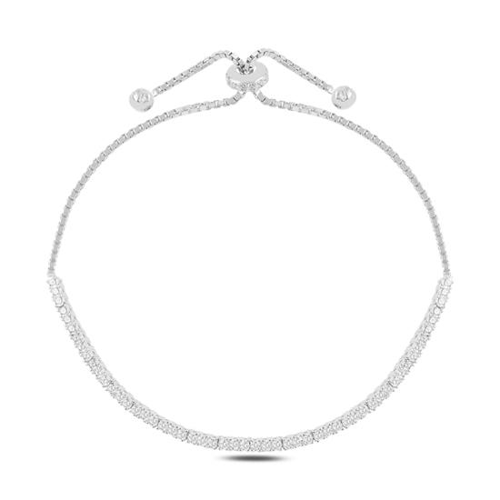 Ürün resmi: Rodyum Kaplama Suyolu 2mm Zirkon Taşlı Gümüş Bayan Asansörlü Bileklik