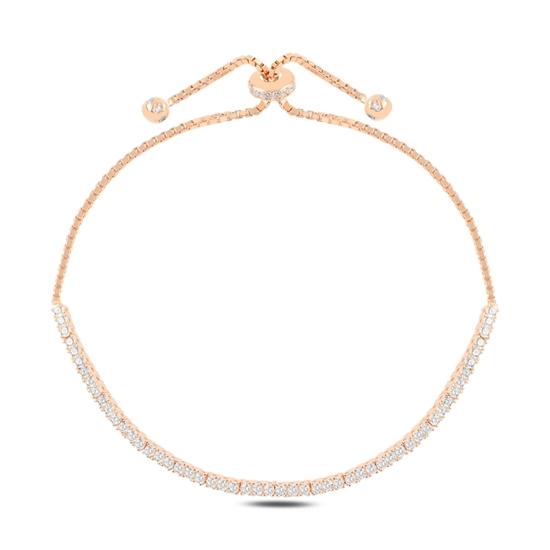 Ürün resmi: Rose Kaplama Suyolu 2mm Zirkon Taşlı Gümüş Bayan Asansörlü Bileklik