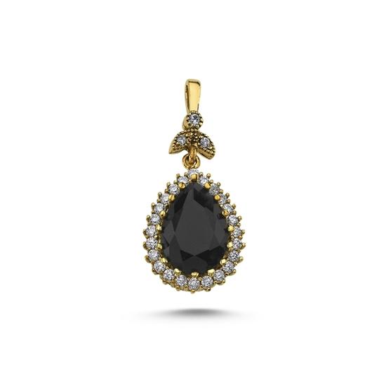 Ürün resmi: Damla Siyah Zirkon Taşlı Otantik Gümüş Bayan Kolye Ucu