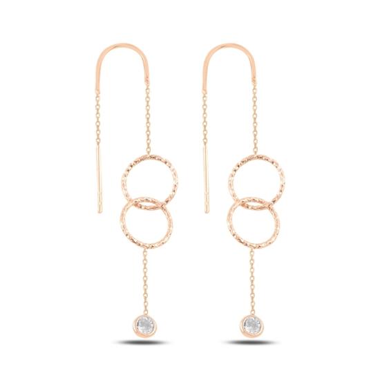 Ürün resmi: Rose Kaplama Halka & Zirkon Taşlı Japon Gümüş Küpe