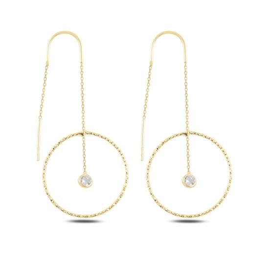 Ürün resmi: Altın Kaplama Halka & Zirkon Taşlı Japon Gümüş Küpe