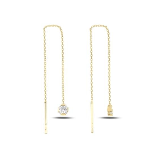 Ürün resmi: Altın Kaplama Kare Baget Zirkon Taşlı Japon Gümüş Küpe