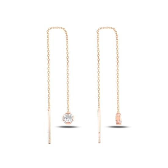 Ürün resmi: Rose Kaplama Kare Baget Zirkon Taşlı Japon Gümüş Küpe