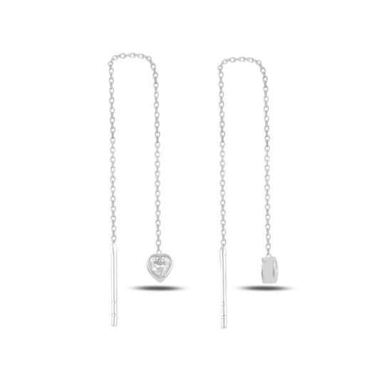 Ürün resmi: Rodyum Kaplama Kalp Zirkon Taşlı Japon Gümüş Küpe