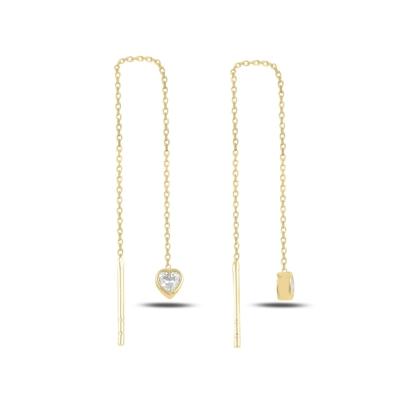 Resim Altın Kaplama Kalp Zirkon Taşlı Japon Gümüş Küpe