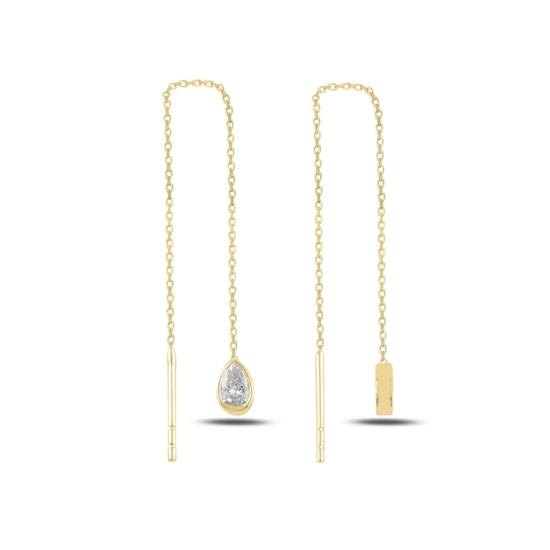 Ürün resmi: Altın Kaplama Damla Zirkon Taşlı Japon Gümüş Küpe