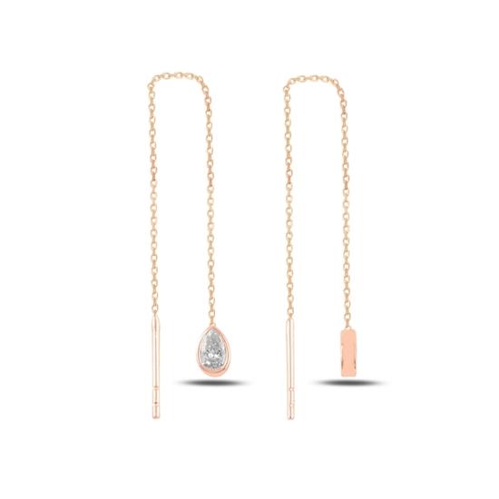 Ürün resmi: Rose Kaplama Damla Zirkon Taşlı Japon Gümüş Küpe