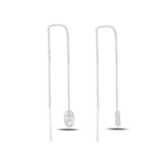 Ürün resmi: Rodyum Kaplama Oval Zirkon Taşlı Japon Gümüş Küpe