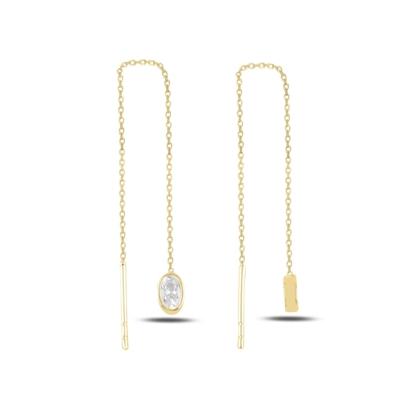 Resim Altın Kaplama Oval Zirkon Taşlı Japon Gümüş Küpe