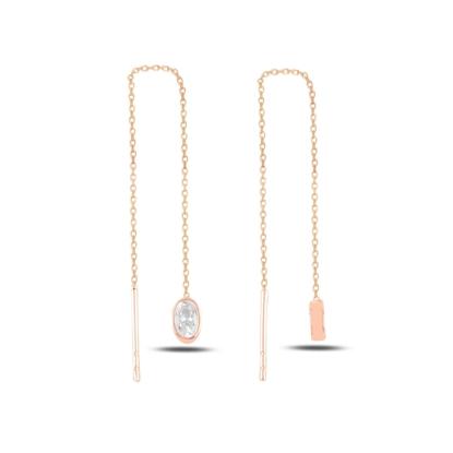 Resim Rose Kaplama Oval Zirkon Taşlı Japon Gümüş Küpe