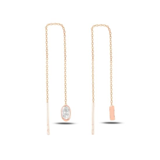 Ürün resmi: Rose Kaplama Oval Zirkon Taşlı Japon Gümüş Küpe