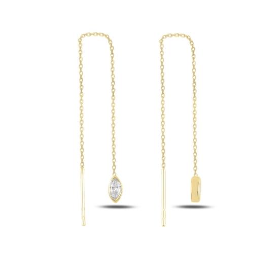 Ürün resmi: Altın Kaplama Mekik Zirkon Taşlı Japon Gümüş Küpe