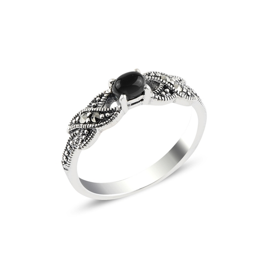 Ürün resmi: Oniks & Markazit Taşlı Gümüş Bayan Yüzük