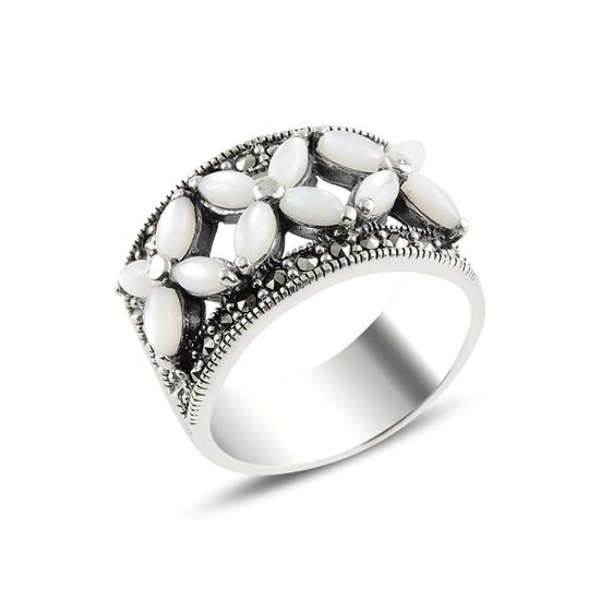 Ürün resmi: Sedef & Markazit Taşlı Gümüş Bayan Yüzük