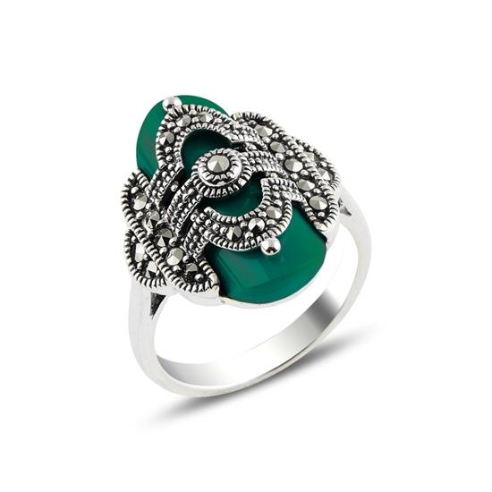 Ürün resmi: Yeşil Akik & Markazit Taşlı Gümüş Bayan Yüzük