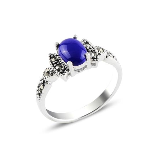 Ürün resmi: Lapis Lazuli & Markazit Taşlı Gümüş Bayan Yüzük