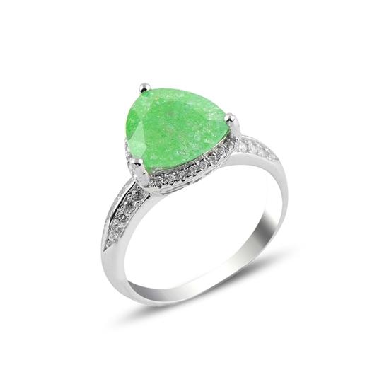 Ürün resmi: Rodyum Kaplama Yeşil Zirkon Taşlı Gümüş Bayan Yüzük