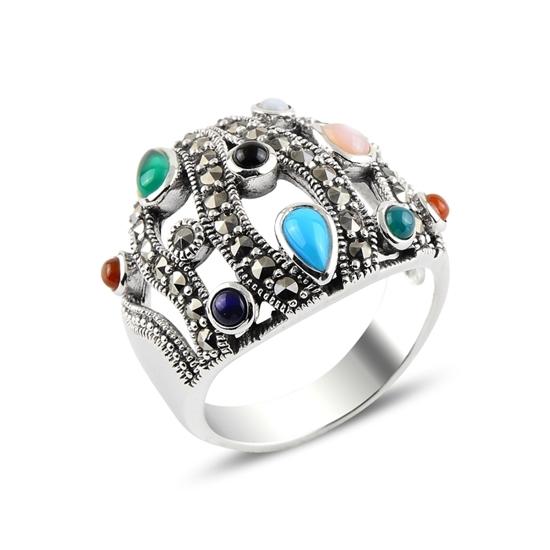 Ürün resmi: Karışık Renk & Markazit Taşlı Gümüş Bayan Yüzük