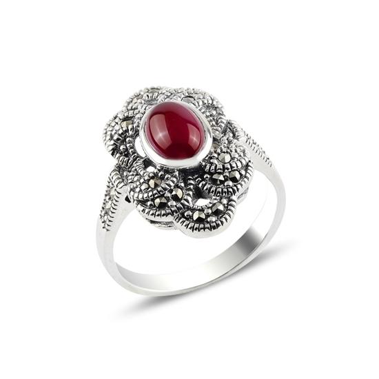 Ürün resmi: Kırmızı Akik & Markazit Taşlı Gümüş Bayan Yüzük