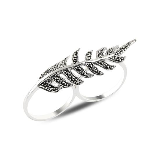 Ürün resmi: Yaprak Markazit Taşlı İki Parmak Gümüş Bayan Yüzük