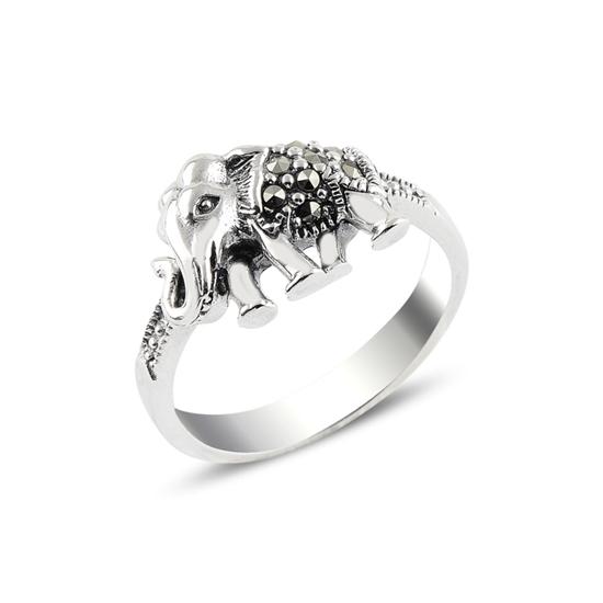 Ürün resmi: Fil Markazit Taşlı Gümüş Bayan Yüzük
