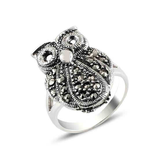 Ürün resmi: Baykuş Markazit Taşlı Gümüş Bayan Yüzük