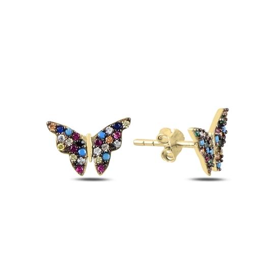 Ürün resmi: Altın Kaplama Kelebek Karışık Zirkon Taşlı Gümüş Küpe