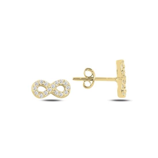 Ürün resmi: Altın Kaplama Sonsuzluk Zirkon Taşlı Gümüş Küpe