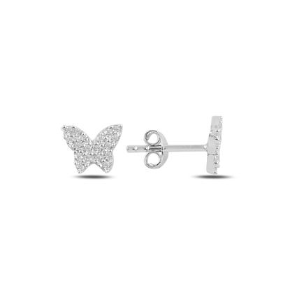 Resim Rodyum Kaplama Kelebek Zirkon Taşlı Gümüş Küpe