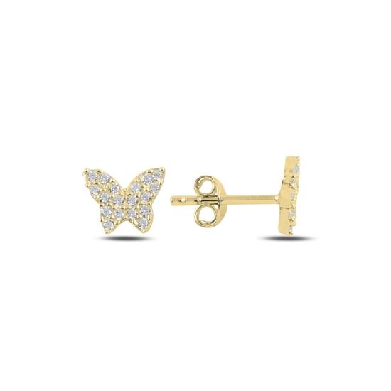 Ürün resmi: Altın Kaplama Kelebek Zirkon Taşlı Gümüş Küpe