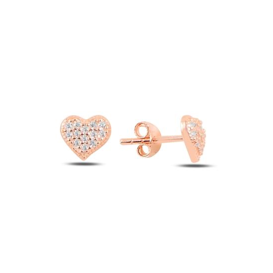 Ürün resmi: Rose Kaplama Kalp Zirkon Taşlı Gümüş Küpe