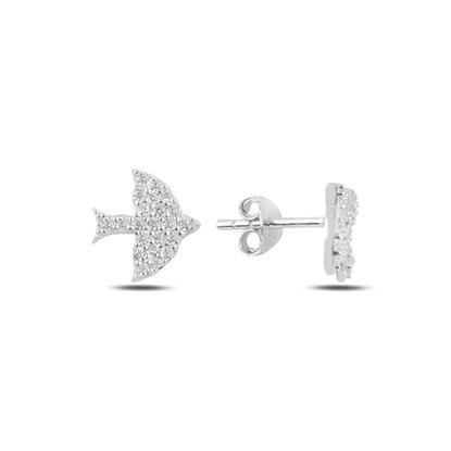 Resim Rodyum Kaplama Kuş Zirkon Taşlı Gümüş Küpe