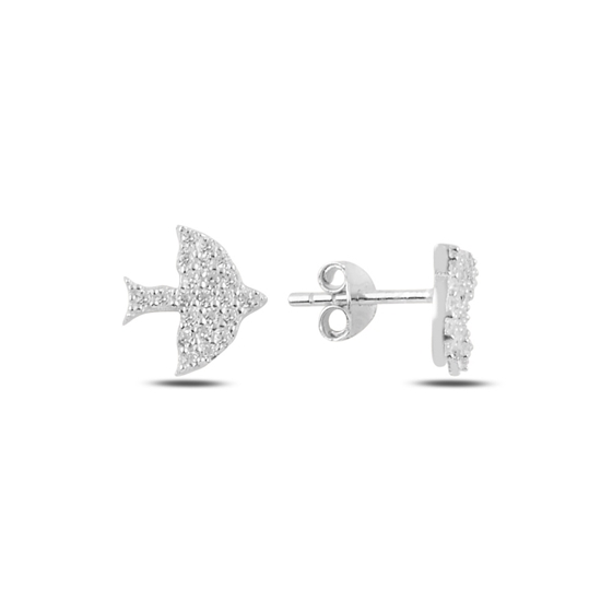 Ürün resmi: Rodyum Kaplama Kuş Zirkon Taşlı Gümüş Küpe