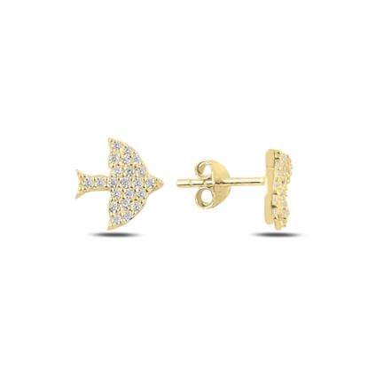 Resim Altın Kaplama Kuş Zirkon Taşlı Gümüş Küpe