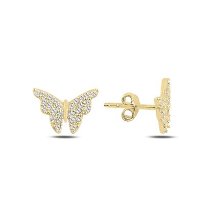 Resim Altın Kaplama Kelebek Zirkon Taşlı Gümüş Küpe