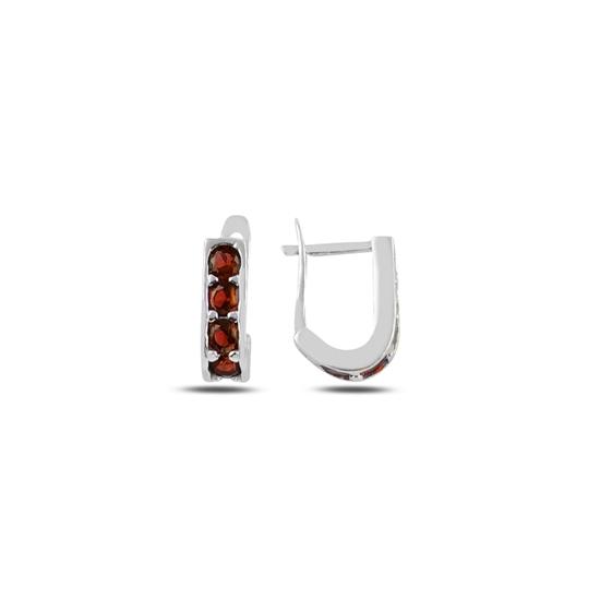 Ürün resmi: Rodyum Kaplama Garnet Zirkon (Koyu Kırmızı) Zirkon Taşlı Gümüş Küpe