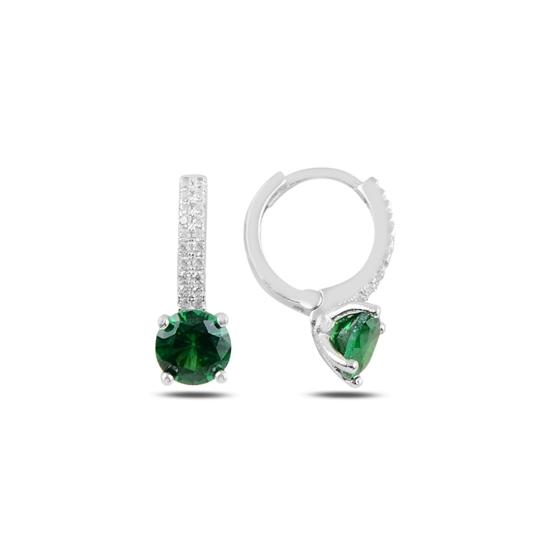 Ürün resmi: Rodyum Kaplama Zümrüt Zirkon (Yeşil) Zirkon Taşlı Gümüş Küpe