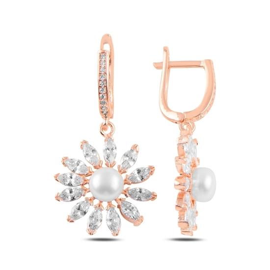 Ürün resmi: Rose Kaplama Papatya İnci & Zirkon Taşlı Gümüş Küpe