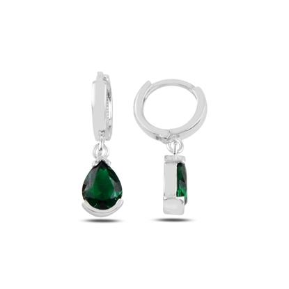Resim Zümrüt Zirkon (Yeşil) Damla Zirkon Taşlı Gümüş Küpe