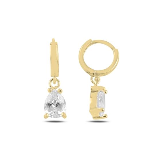 Ürün resmi: Altın Kaplama Damla Zirkon Taşlı Gümüş Küpe